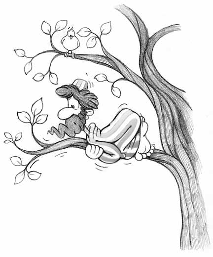 (illustration - Zacchaeus up a tree!)